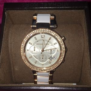Michael Kors Rose Gold/ White link watch